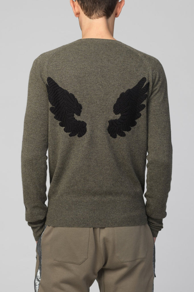 UNCONDITIONAL Military cashmere sweater with arm stripes and hand embroidered wings.