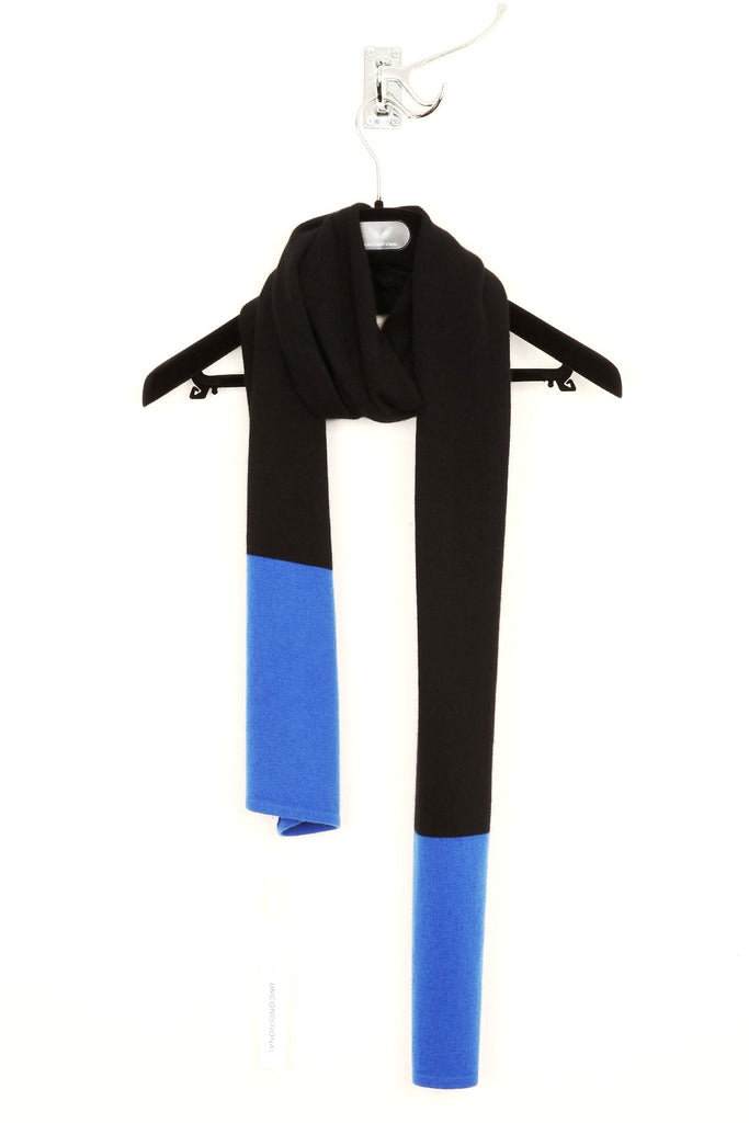 UNCONDITIONAL Black and Electric Blue Grade A cashmere scarf.
