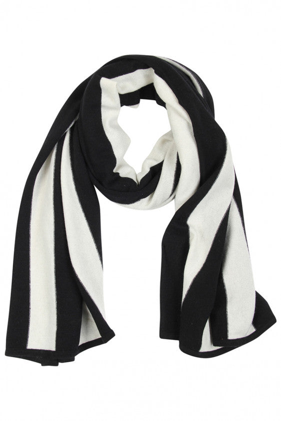 UNCONDITIONAL BLACK AND WHITE STRIPED GRADE A CASHMERE SCARF