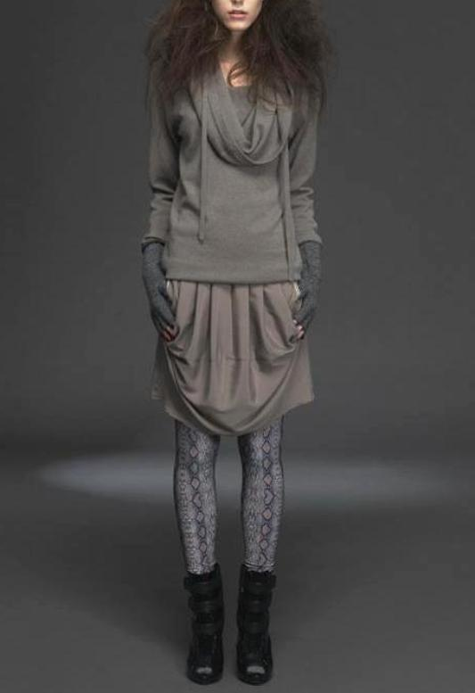 UNCONDITIONAL TAUPE GRADE A CASHMERE DRAPED FUNNEL NECK JUMPER.