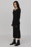 UNCONDITIONAL Charcoal CASHMERE KNIT 'Monastic' long crew neck sweaterdress