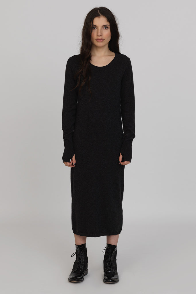 UNCONDITIONAL Charcoal Cashmere knit Monastic long crew neck sweaterdress.