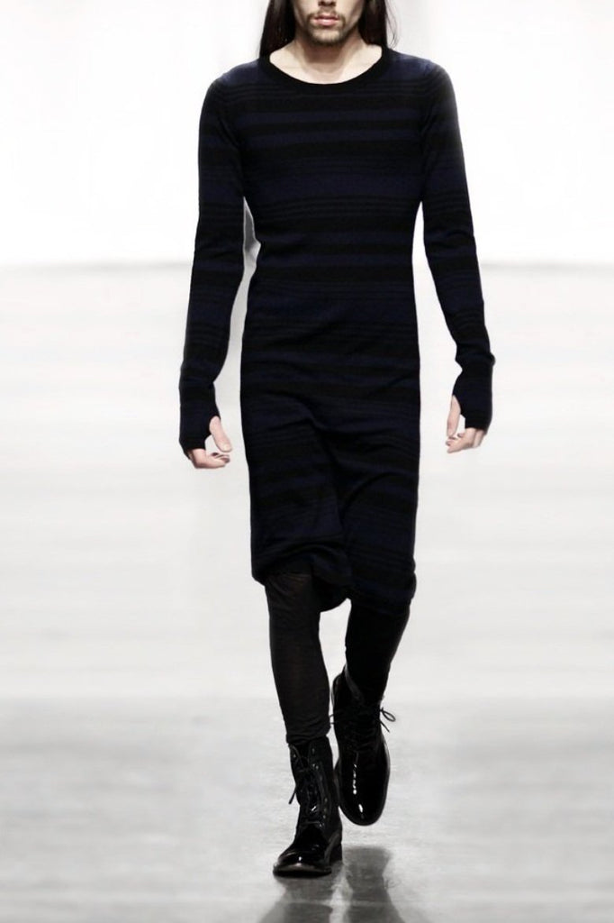 UNCONDITIONAL UNISEX Charcoal Cashmere Monastic long sweater|dress.