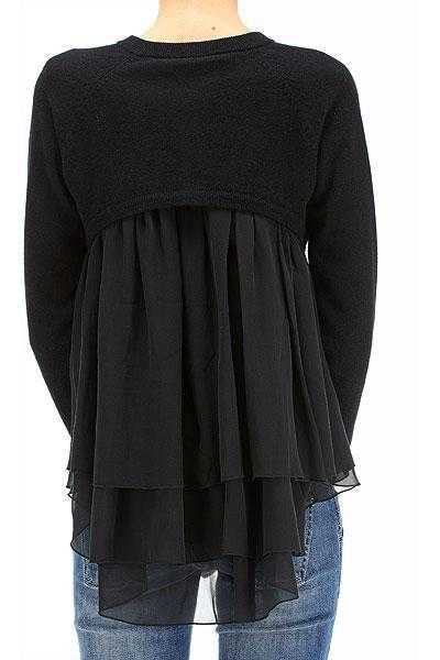 UNCONDITIONAL Black cashmere cardigan with silk layered back