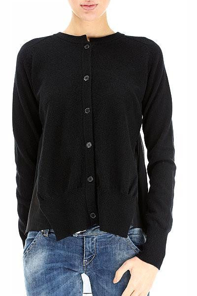 UNCONDITIONAL Black cashmere cardigan with silk layered back.cashw421