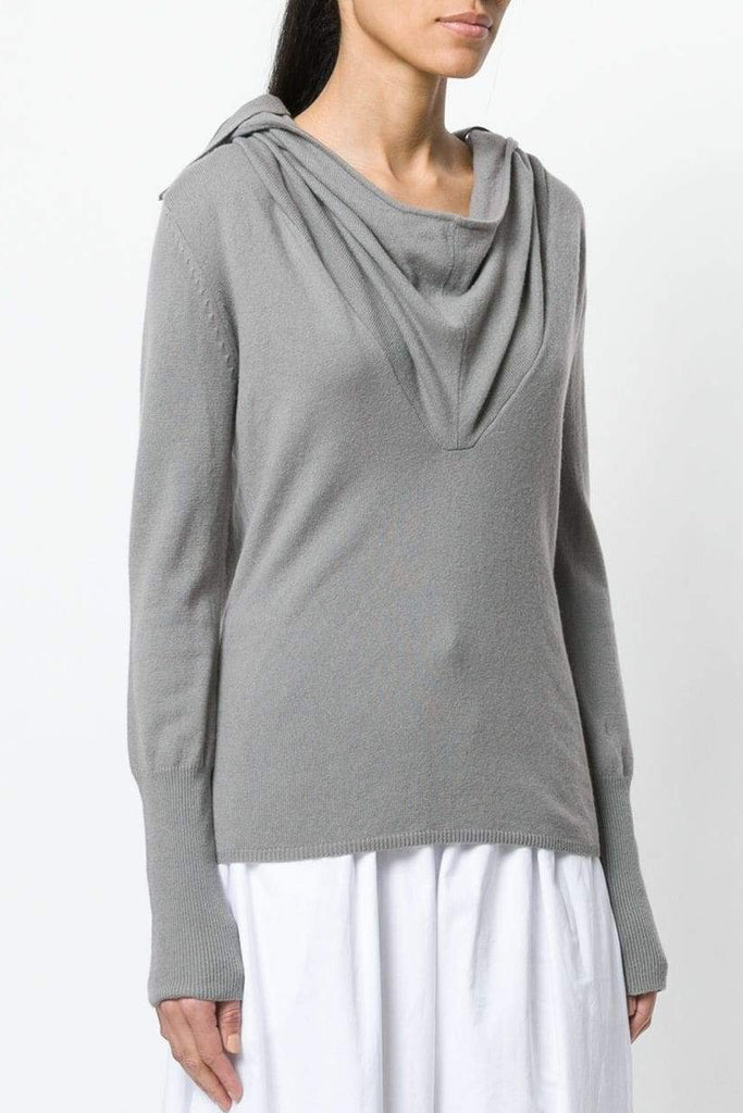 "UNCONDITIONAL Womens Taupe Grade A cashmere ""Ghost Hoodie"" sweater"