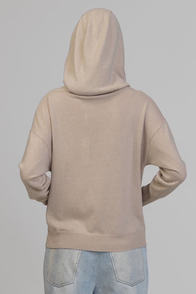 UNCONDITIONAL 'Biscuit' SLOUCHY POCKET HOODIE IN PURE GRADE A CASHMERE.