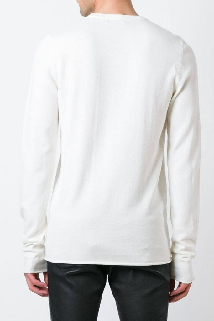 UNCONDITIONAL SS18 CHALK COTTON CASHMERE X LONG SLEEVED CREW NECK SWEATER