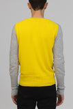 UNCONDITIONAL Flannel and yellow cashmere v-neck jumper with contrast back.