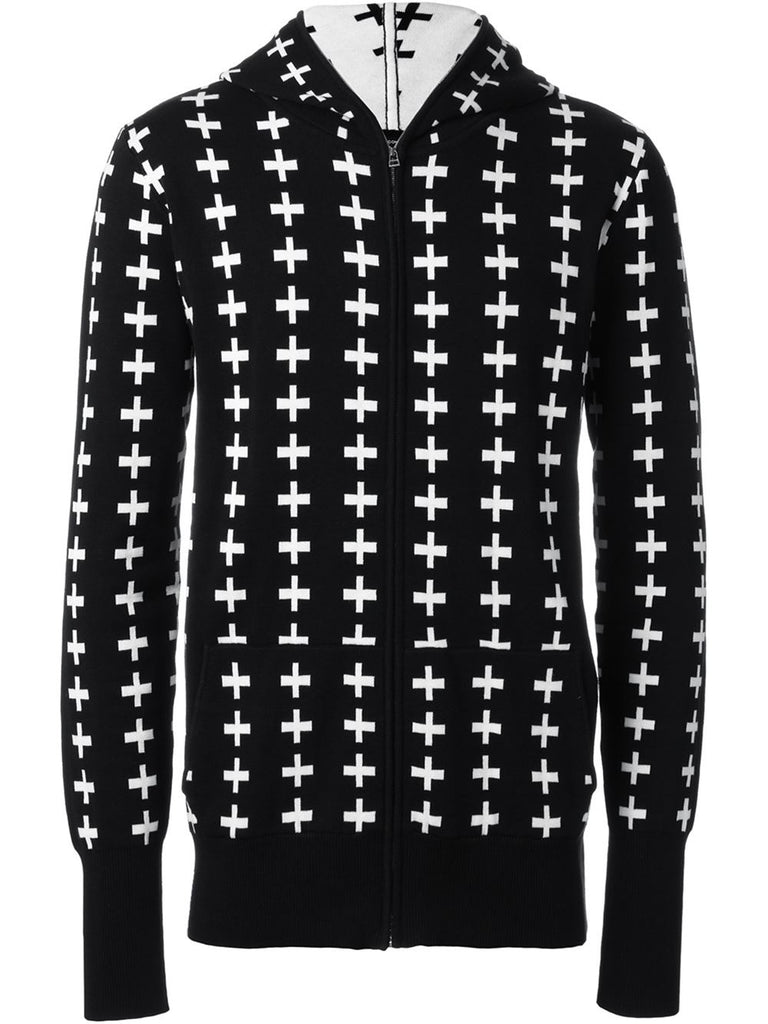 UNCONDITIONAL SS17 Cotton knit Black with white cross full zip up hoodie.