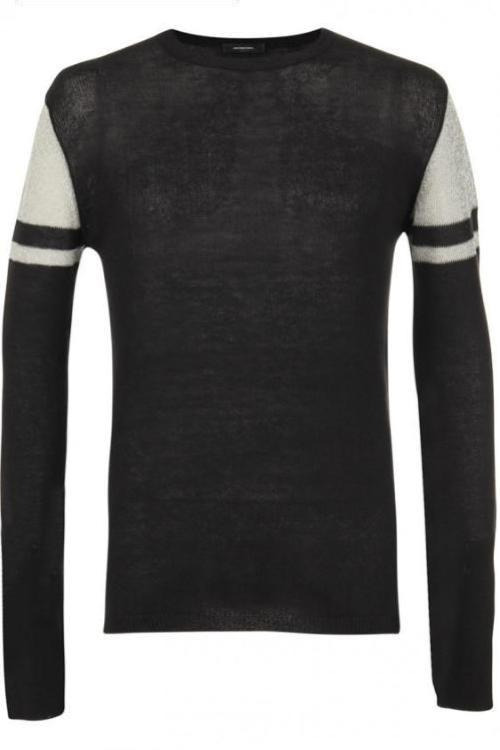 UNCONDITIONAL AW18 BLACK CREW NECK JUMPER WITH METALLIC MESH UPPER ARM