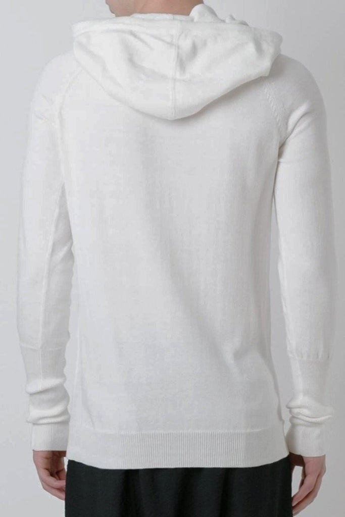 UNCONDITIONAL SS17 Classic white cotton knit funnel neck hoodie