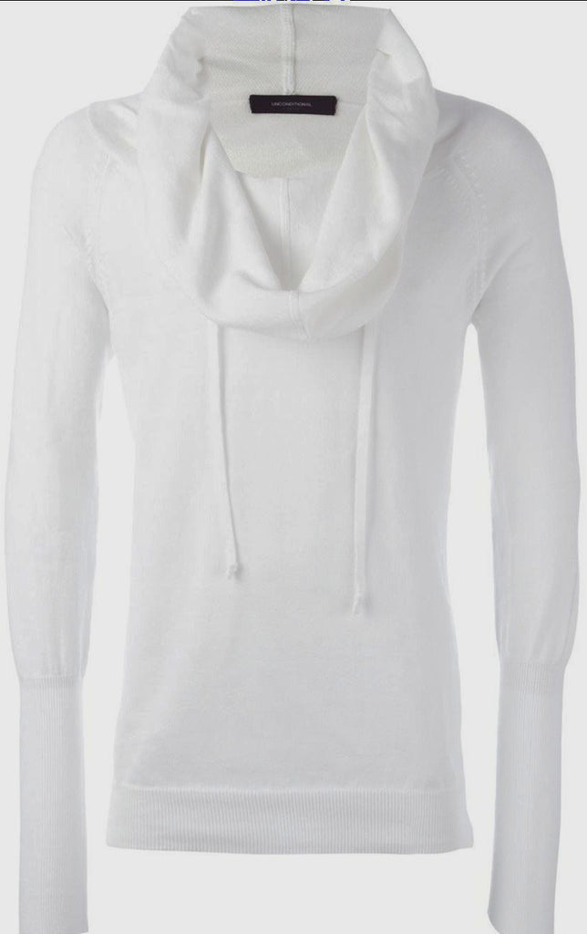 UNCONDITIONAL SS18 Signature white cotton knit funnel neck hoodie