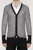 UNCONDITIONAL Black cotton knit grid mesh cardigan.