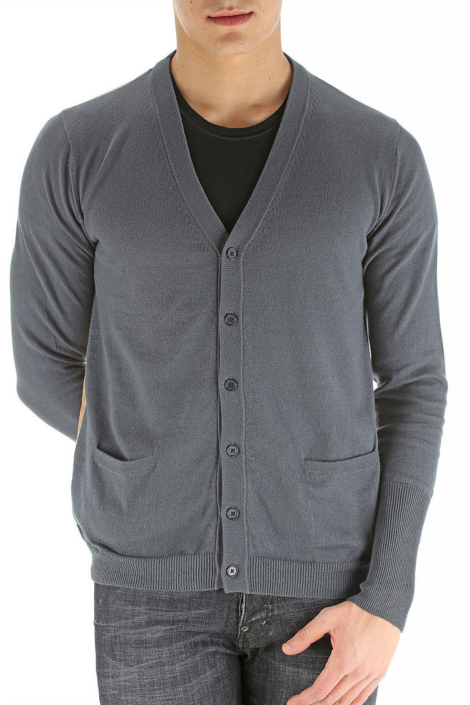 UNCONDITIONAL Dark Grey cotton knitted cardigan with brown fine striped back.
