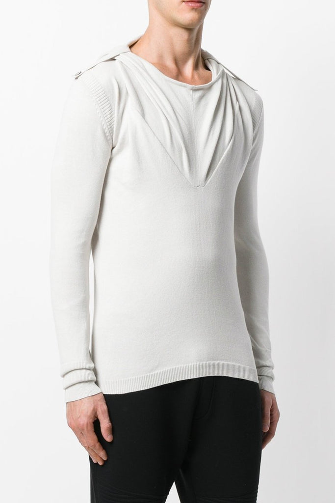 UNCONDITIONAL Dirty White cotton Ghost hoodie sweater with shoulder details