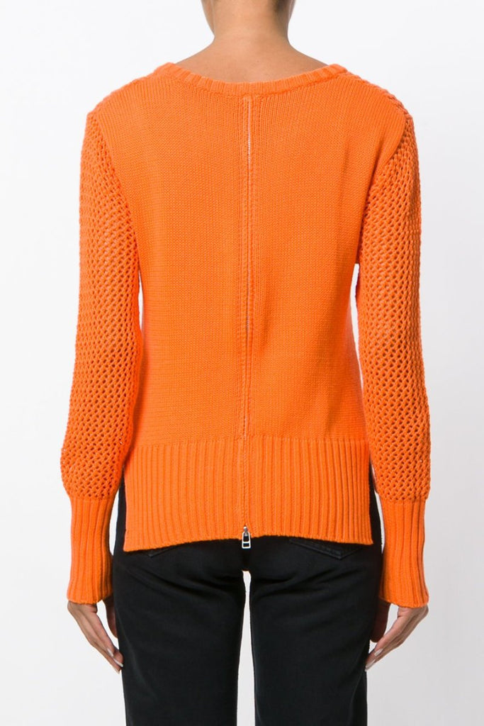 UNCONDITIONAL SS18 cotton fluoro orange crew neck mesh knit sweater code  cnw454