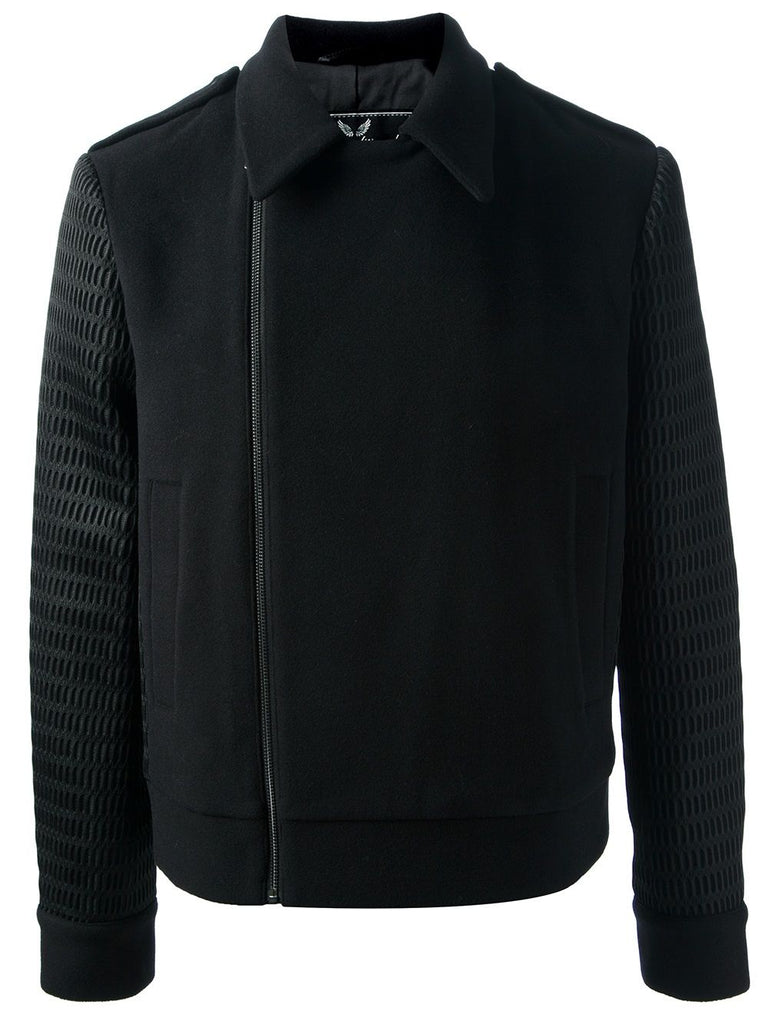 UNCONDITIONAL Black short wool coat with contrast mesh back and sleeves.