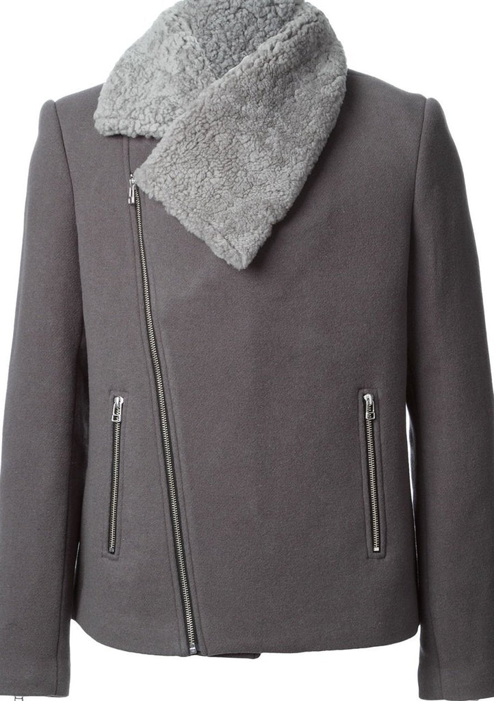 UNCONDITIONAL Grey asymmetric zip up peacoat with Sheepskin collar.