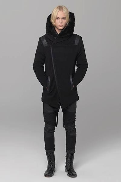 UNCONDITIONAL Black asymmetric zip up rabbit fur lined hooded parka . code :cot216f