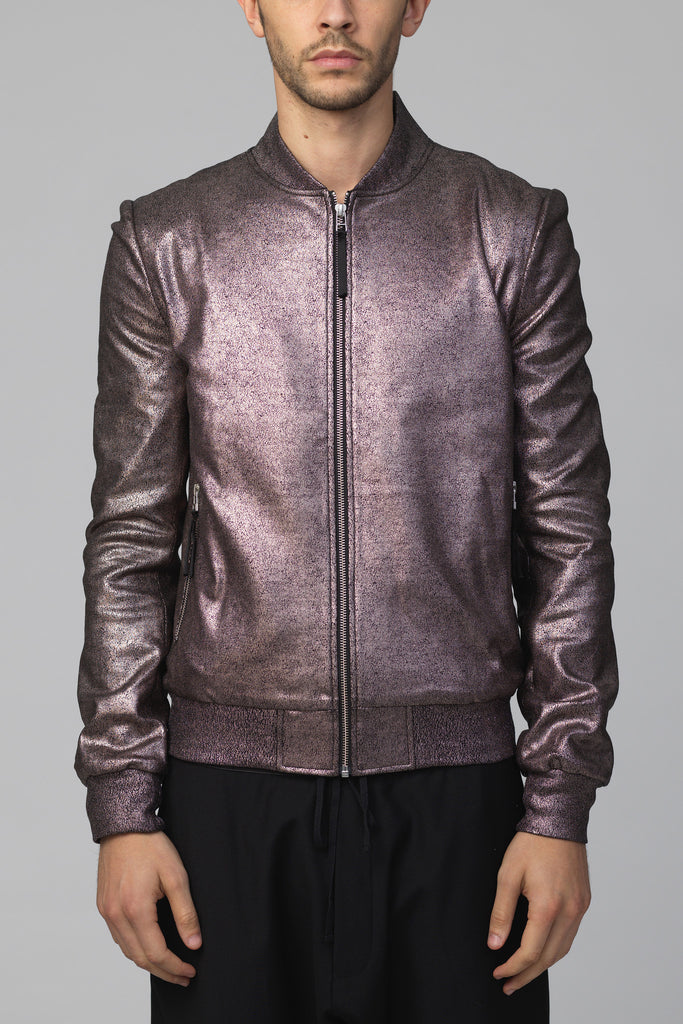 UNCONDITIONAL AW16 Dark Bronze Foiled Cotton heavy Jersey bomber jacket.