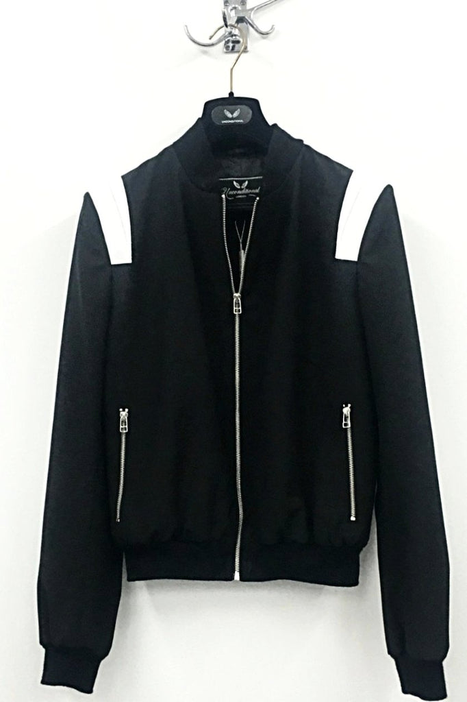 UNCONDITIONAL Black wool bomber jacket with white leather shoulder detailing