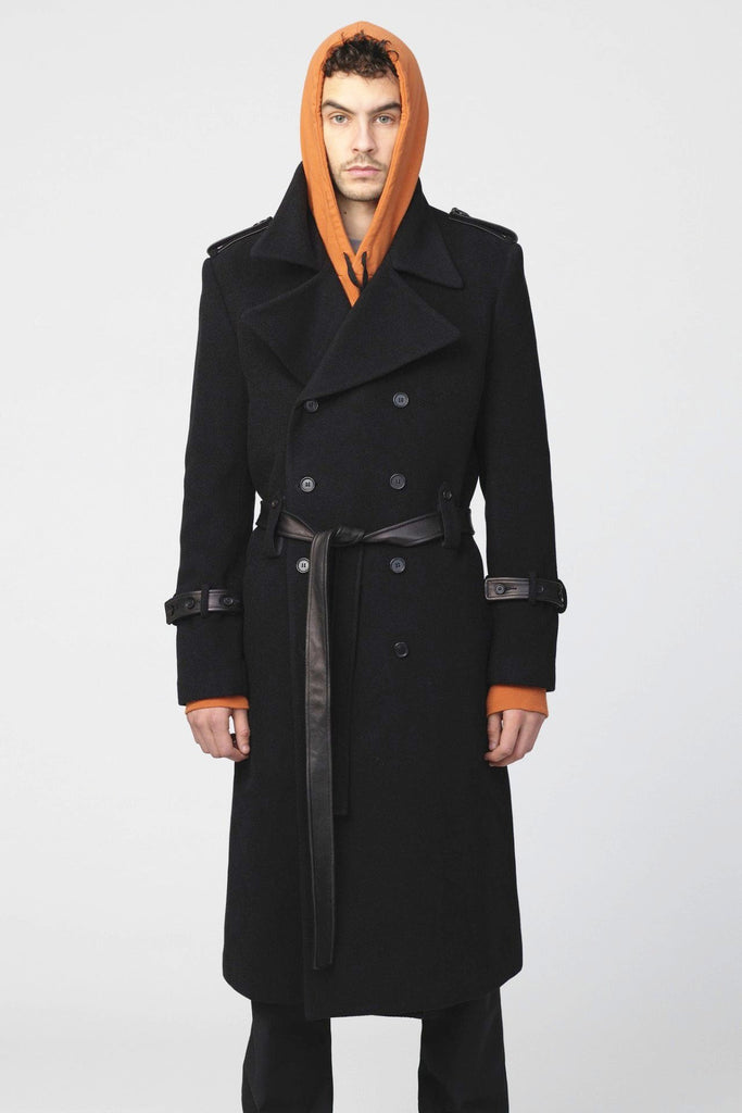 UNCONDITIONAL AW19 Black Military Great Coat with leather detailing