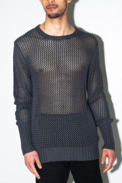 82d8de2c396fc8 UNCONDITIONAL Dark grey cotton mesh knitted crew neck.