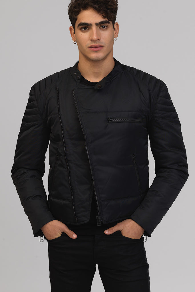 UNCONDITIONAL AW16 Black quilted goose down mens biker jacket