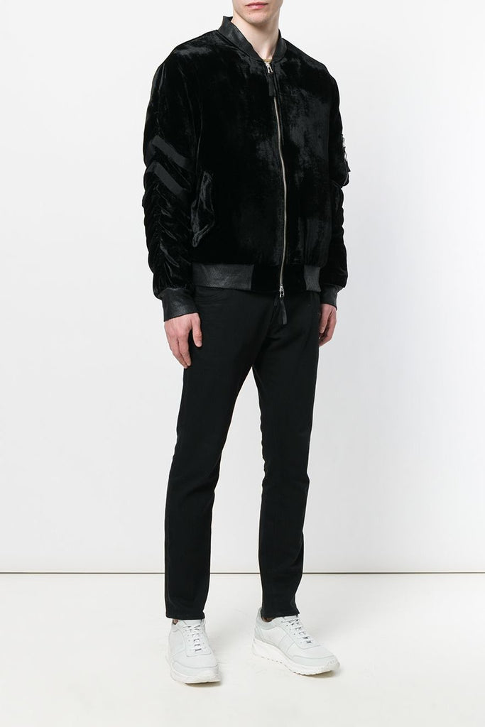 UNCONDITIONAL AW18 interlined Black silk velvet bondage bomber