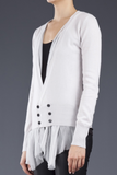 UNCONDITIONAL Dirty white d.b. cashmere cardigan with chiffon drapes