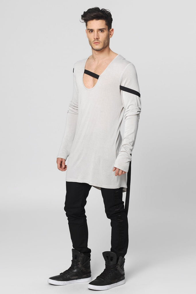 UNCONDITIONAL DIRTY WHITE L/S U-NECK T WITH BLACK BONDAGE RIBBON