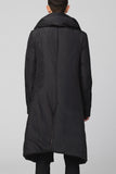 UNCONDITIONAL Sculptural Black long goose down asymmetric hem coat with pillow neck.