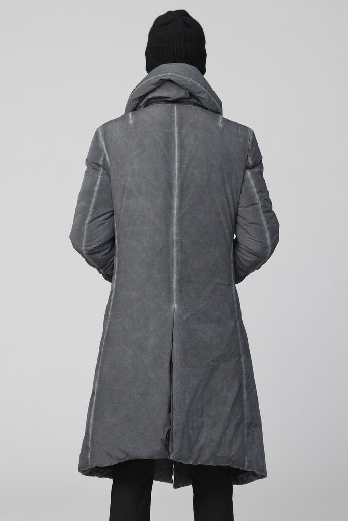 UNCONDITIONAL AW17 Military CD hooded long goose down asymmetric hem coat with pillow neck.