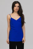 UNCONDITIONAL Signature electric blue silk crepe diamond camisole.