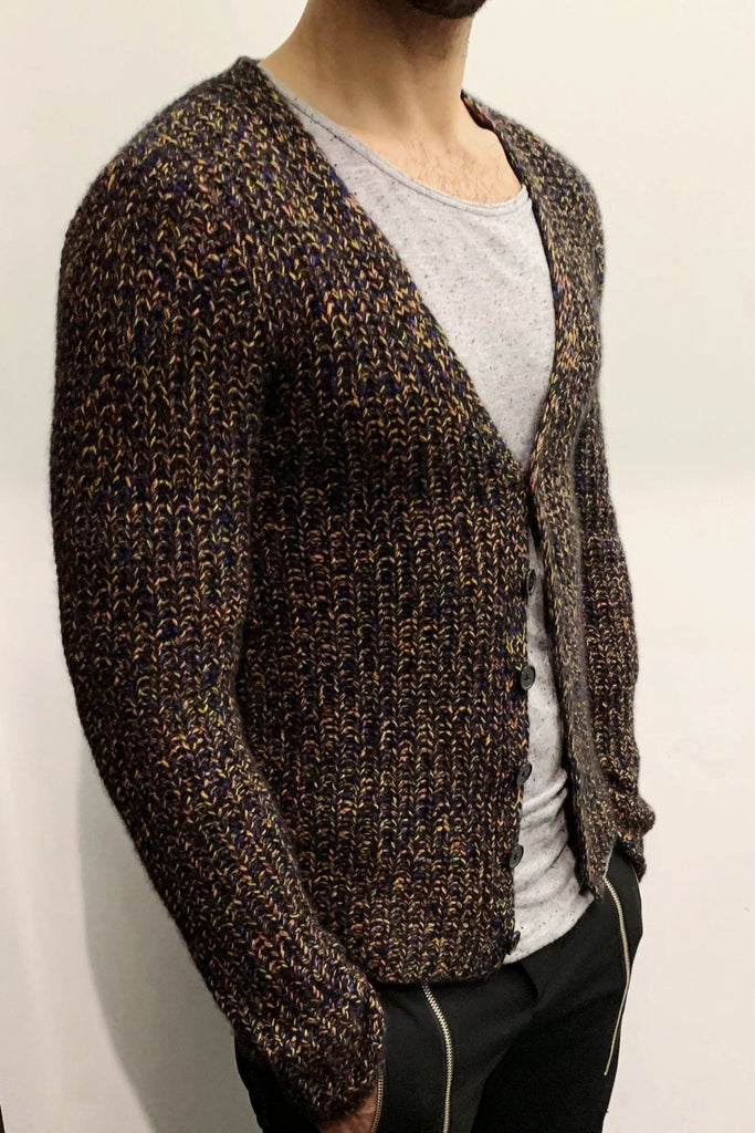 UNCONDITIONAL Multicolored Heavy knit pure Grade A cashmere chunky cardigan.