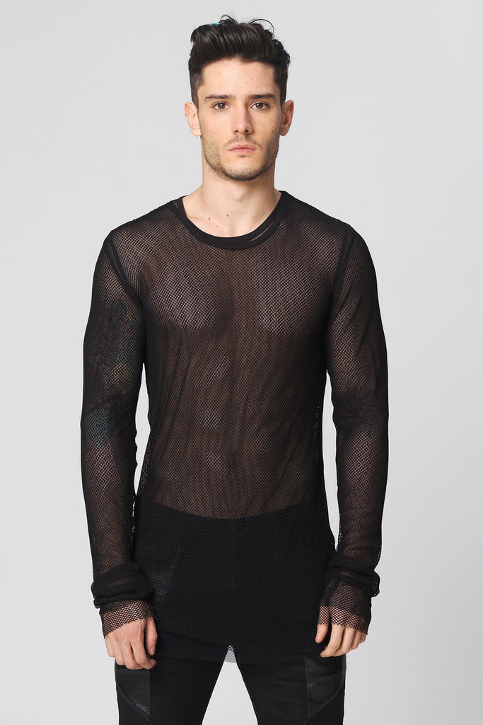UNCONDITIONAL Black mesh long sleeved crew neck tee.
