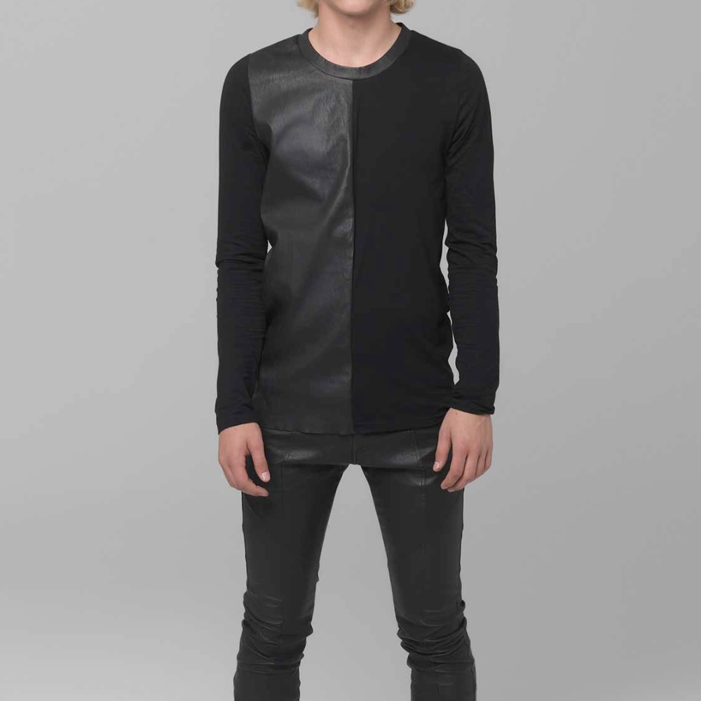 UNCONDITIONAL AW18 black long sleeved tee with half leather front.