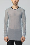 UNCONDITIONAL White and black double layer mesh long sleeved T shirt