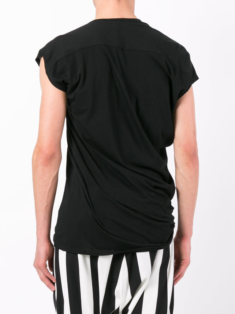 UNCONDITIONAL'S Signature warm silver and soft grey stripes asymmetric drape T-shirt.