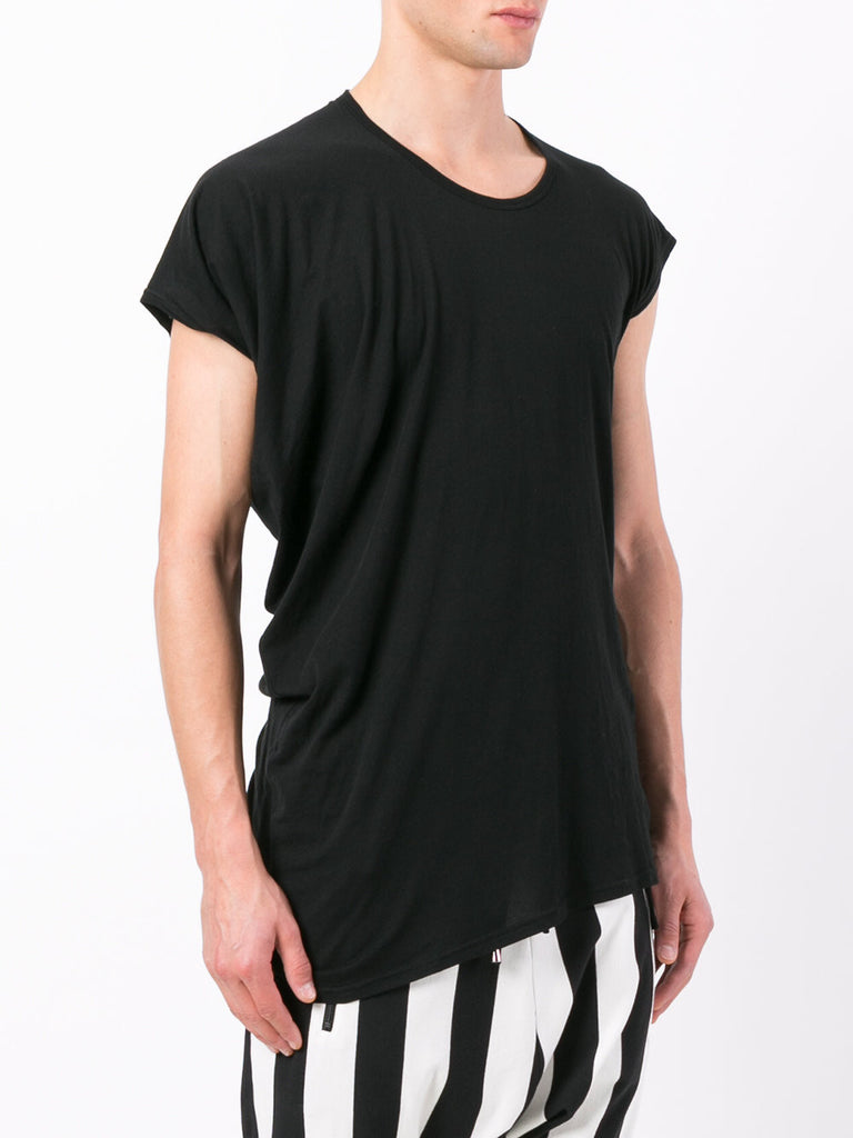 UNCONDITIONAL FJ140 Black finest cotton asymmetric drape T-shirt