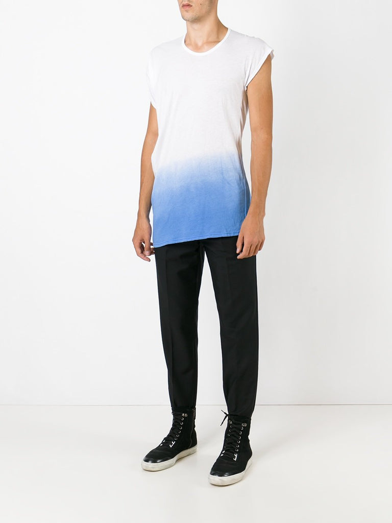 UNCONDITIONAL signature white fine asymmetric drape T-shirt with blue dip dye.