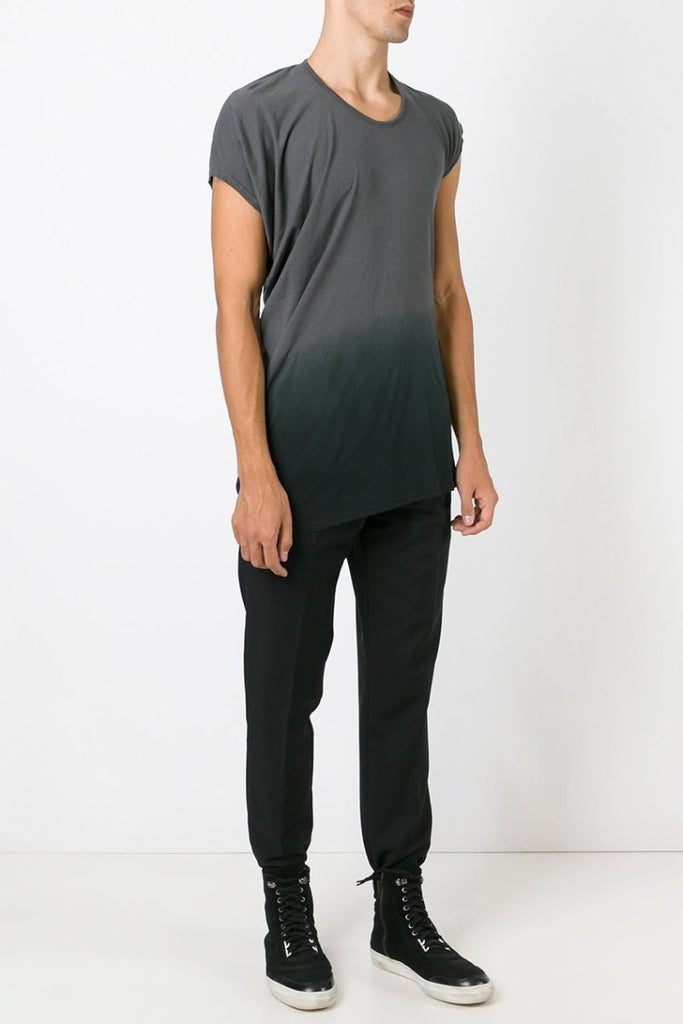 UNCONDITIONAL grey dip dyed asymmetric drape T-shirt code : FJ140d