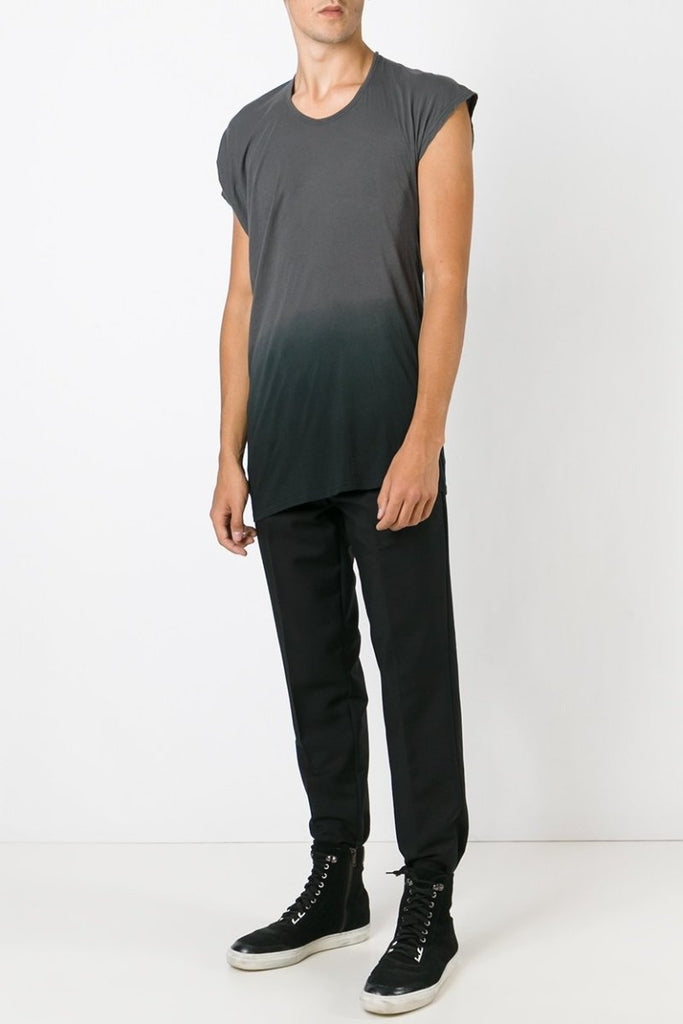 UNCONDITIONAL Dark grey fine cotton asymmetric drape T-shirt with botton dip dye.