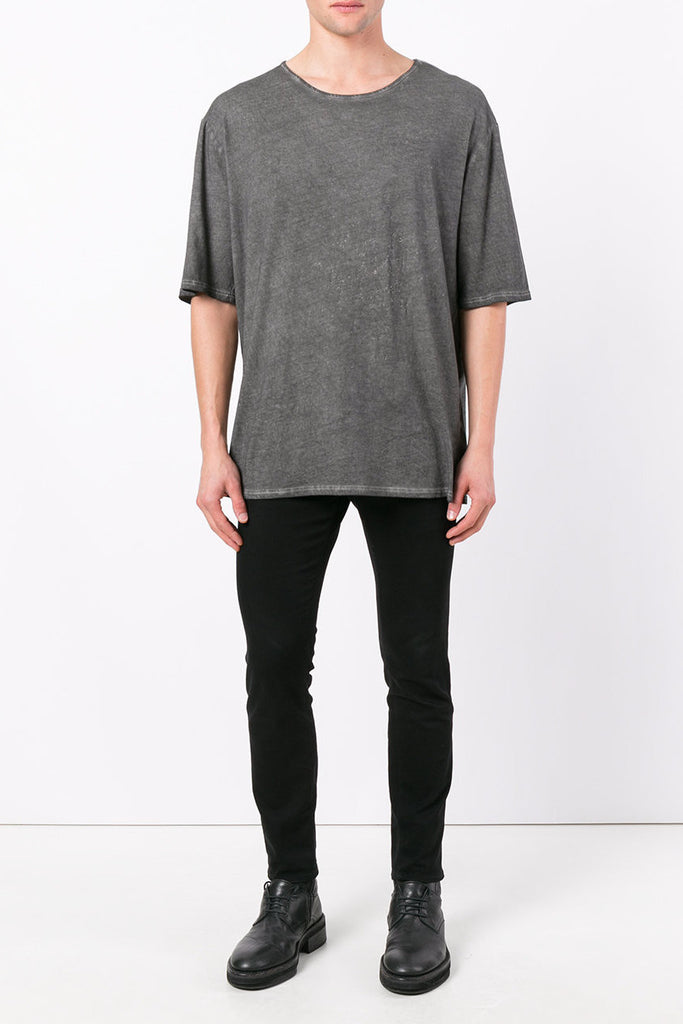 UNCONDITIONAL fj201 Military grey cold-dye cotton oversized Tshirt
