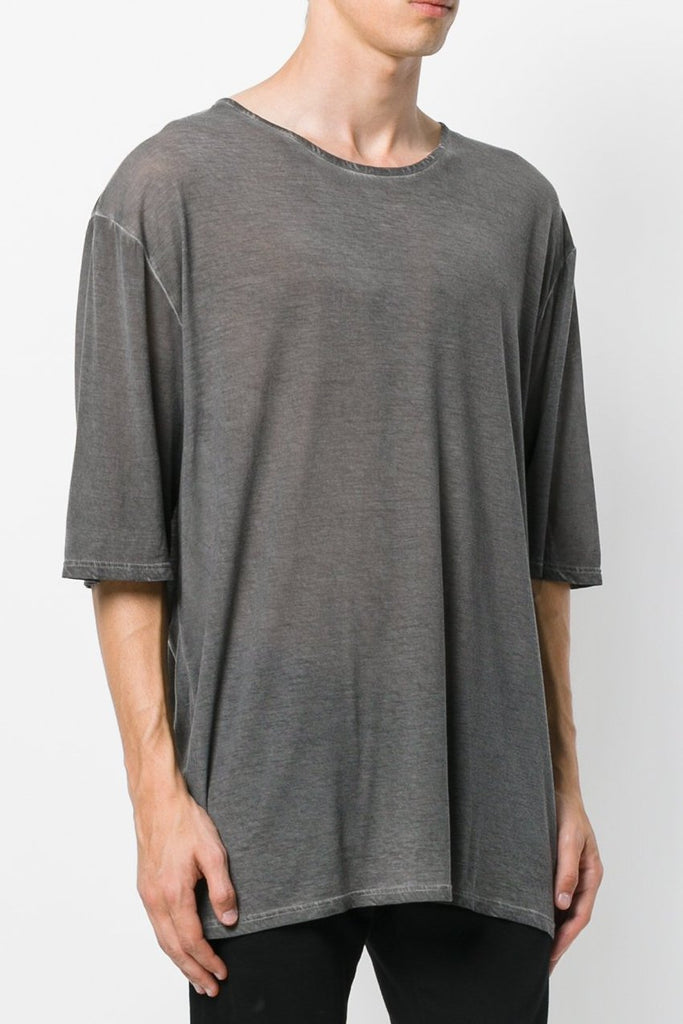 UNCONDITIONAL SS18 Military Cold dye fine tencel oversized drapey crew neck tee.