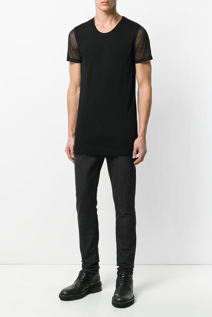 UNCONDITIONAL black sheer mesh contrast sleeved crew neck t-shirt. code : fj301