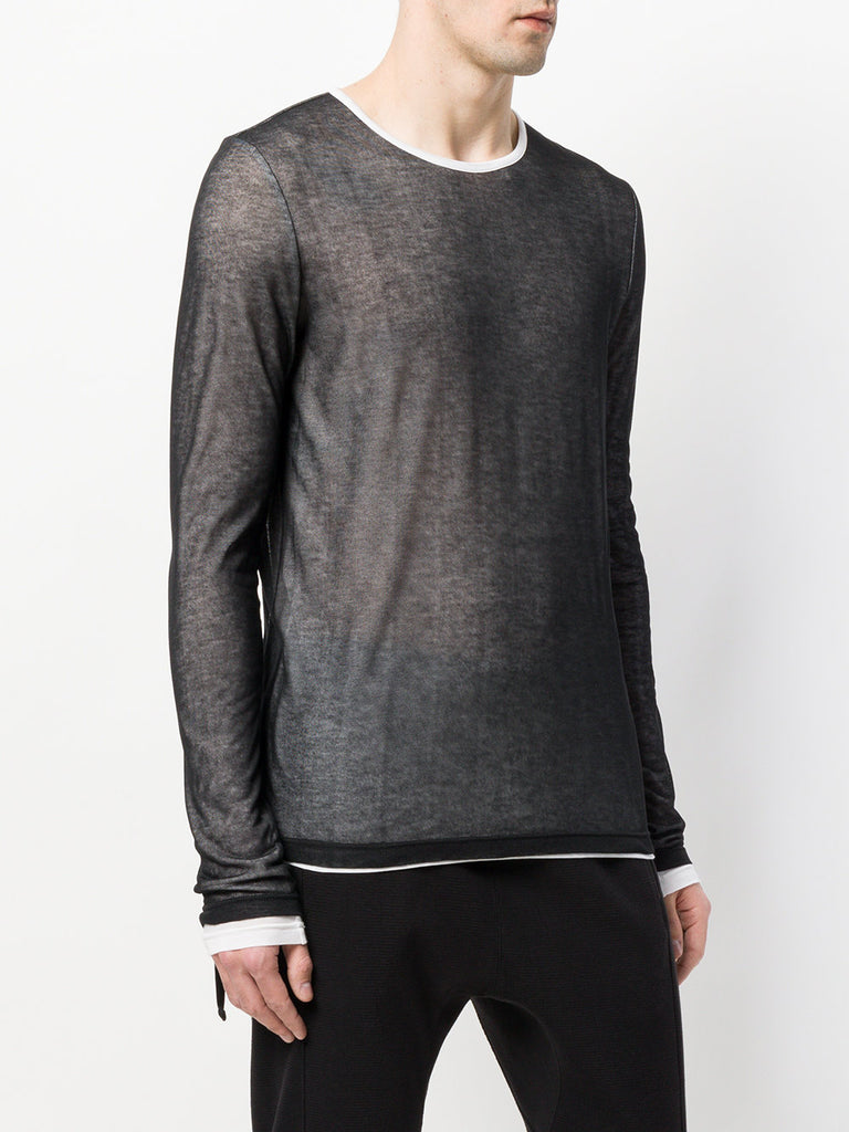 UNCONDITIONAL AW19 Layered Black mesh on White fine jersey long sleeved T-shirt