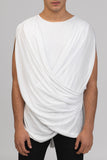 UNCONDITIONAL AW17 PRE white sleevless crew neck cross drape T shirt