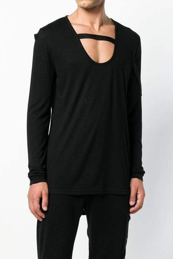 UNCONDITIONAL BLACK scoop neck long sleeved T bondage ribbon strap